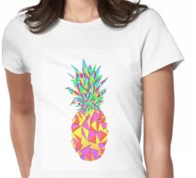 Girly Pink Geometric Triangles Pineapple Womens Fitted T-Shirt