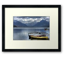 Docked Canoes Framed Print