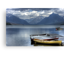 Docked Canoes Canvas Print