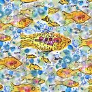 Gone fishing textile pattern by Regina Valluzzi