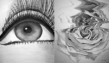 """Eye and Flower Diptych"" by Mui-Ling Teh"