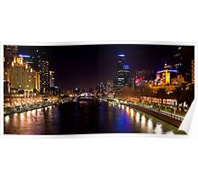 Melbourne Yarra at night Poster