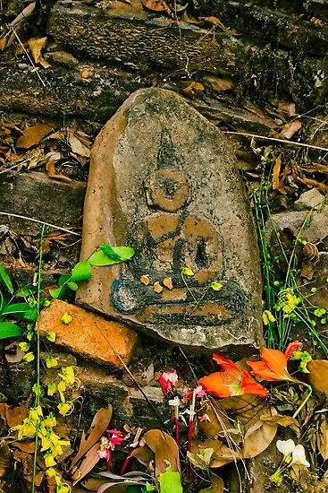 Buddha carving - from That Gala Theup stupa, Saravane, Laos by AsiaArchaeology