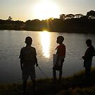 Malawi: children fishing at Lilongwe's Area 10 dam by Anita Deppe