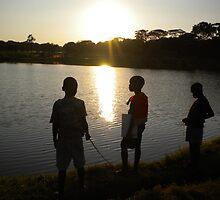 Malawi: children fishing at Lilongwe's Area 10 dam by Anita Deppe