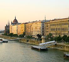 Budapest - docks of Danube great river. by demigod