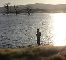 """This is the life"" - Darren fishing at sunset at Lake Eucumbene. by eucumbene"