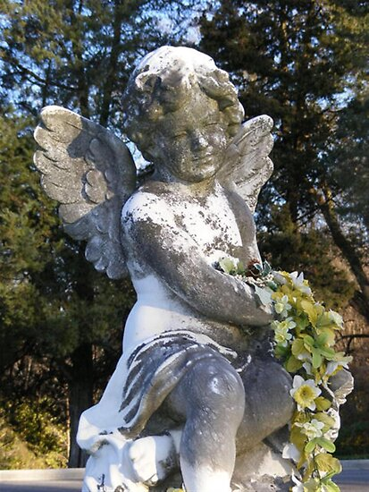 Angel Statue with Flowers by Marie Sharp