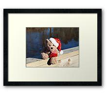 Christmas bear waiting for Santa Framed Print