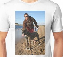 36 Stuart with Riley the Great Dane-Wolf Hound Unisex T-Shirt