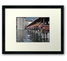 Flowered Bridge - Switzerland - On Tour Europe Framed Print