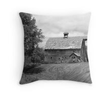Barn on bluff overlooking the Elk Horne River, Nebraska Throw Pillow