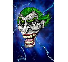 Psycho Clown in Blue Lightning Photographic Print