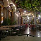 A Restaurant's Terrace at night by sstarlightss