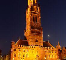 Belfry of Brugge in Moonlight by Béla Török