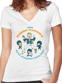Super Awesome Ninja Army Women's Fitted V-Neck T-Shirt