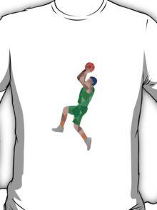 Basketball Player Jump Shot Ball Low Polygon T-Shirt