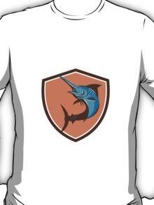 Blue Marlin Fish Jumping Shield Retro T-Shirt