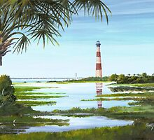 Morris Island Lighthouse w/ Palmetto Folly Beach, SC A020 by Matthew Campbell