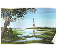 Morris Island Lighthouse w/ Palmetto Folly Beach, SC A020 Poster