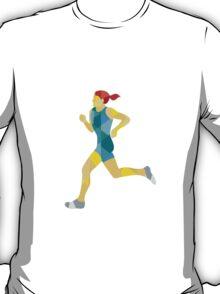Female Triathlete Marathon Runner Low Polygon T-Shirt