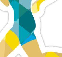 Female Triathlete Marathon Runner Low Polygon Sticker