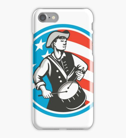 American Patriot Drummer USA Flag Circle Retro iPhone Case/Skin