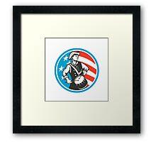 American Patriot Drummer USA Flag Circle Retro Framed Print