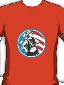 American Patriot Drummer USA Flag Circle Retro T-Shirt