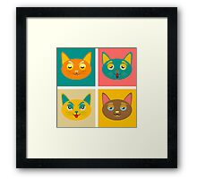 Four cats boredom and fatigue joy malice Framed Print