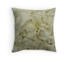 White Hydrangea-(Floral Macro) Throw Pillow
