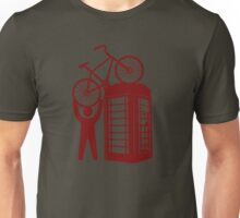Telephone booth box  with a man and s bike on a roof symbol  Unisex T-Shirt