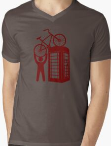 Telephone booth box  with a man and s bike on a roof symbol  Mens V-Neck T-Shirt