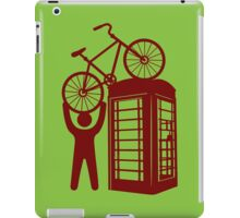 Telephone booth box  with a man and s bike on a roof symbol  iPad Case/Skin