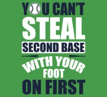 You can't steal second base with your foot on first - red/blue Baby Tee