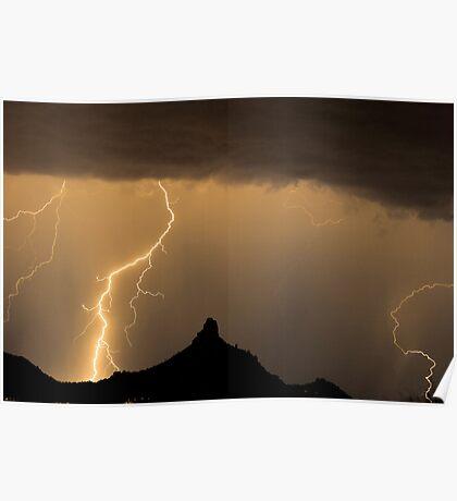 Lightning Strikes - Pinnacle Peak Poster