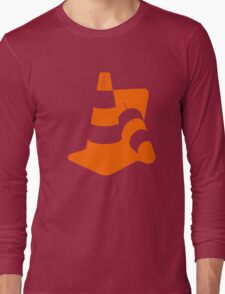 Traffic cones two safety pylons markers Long Sleeve T-Shirt