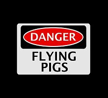 DANGER FLYING PIGS, FUNNY FAKE SAFETY SIGN by DangerSigns