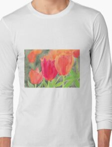 Orange And Red Tulips Long Sleeve T-Shirt