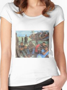 Refugee Boat Women's Fitted Scoop T-Shirt