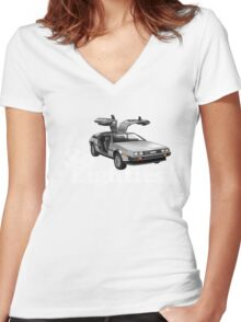 Delorean, So Eighties!! Women's Fitted V-Neck T-Shirt