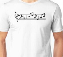 Treble and Bass Clef Heart Bar of Music Unisex T-Shirt