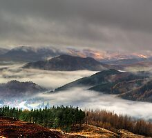 Perthshire hills in Autumn mist by Panalot