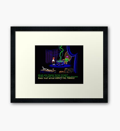 Asking about the Three Trials (Monkey Island 1) Framed Print