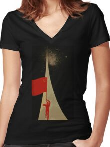all the way up to the stars  - soviet union propaganda Women's Fitted V-Neck T-Shirt