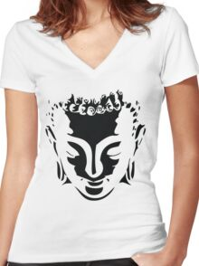 buddah face Women's Fitted V-Neck T-Shirt