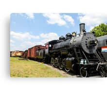 Old Black Steam Engine Canvas Print