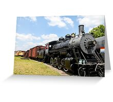 Old Black Steam Engine Greeting Card