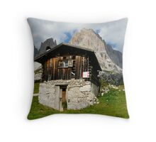 Hut in the Dolomites Throw Pillow