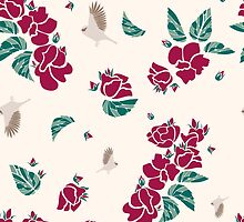 Vintage pattern of roses and birds by aklionka